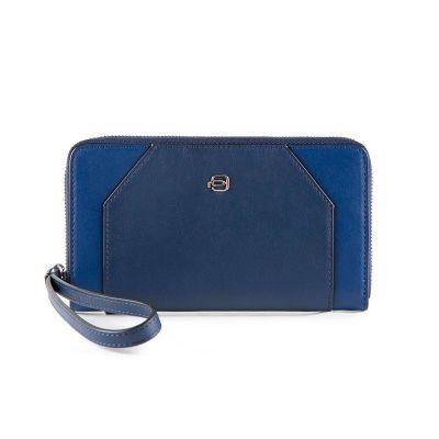 Женский бумажник на молнии Piquadro Muse синий с отделением для iPhone 7