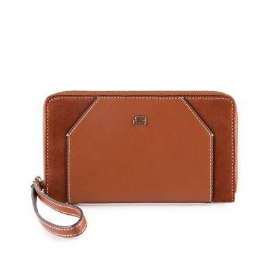 Женский бумажник на молнии Piquadro Muse коричневый с отделением для iPhone 7