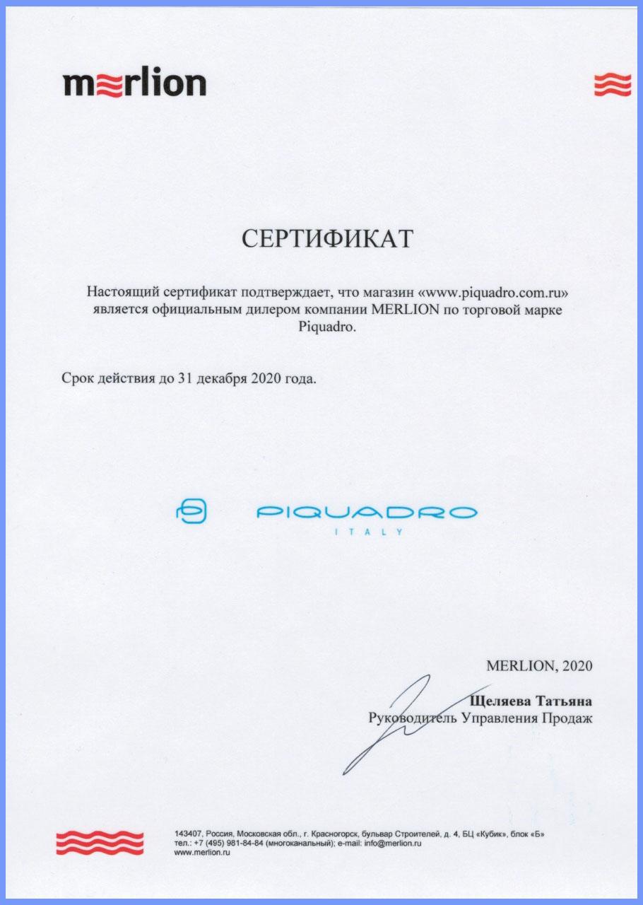 Сертификат официального дилера 2020 года